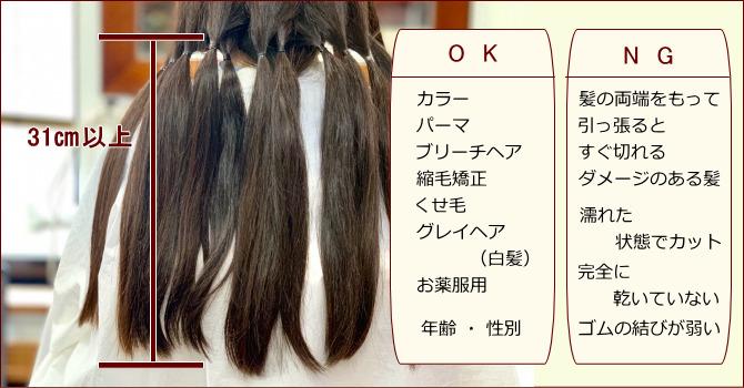 ヒーロー 寄付する髪の毛の条件・注意点について