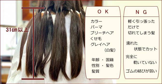 ジャーダック 寄付する髪の毛の条件・注意点について